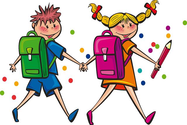kresba chlapce a děvčete jdoucích do školy