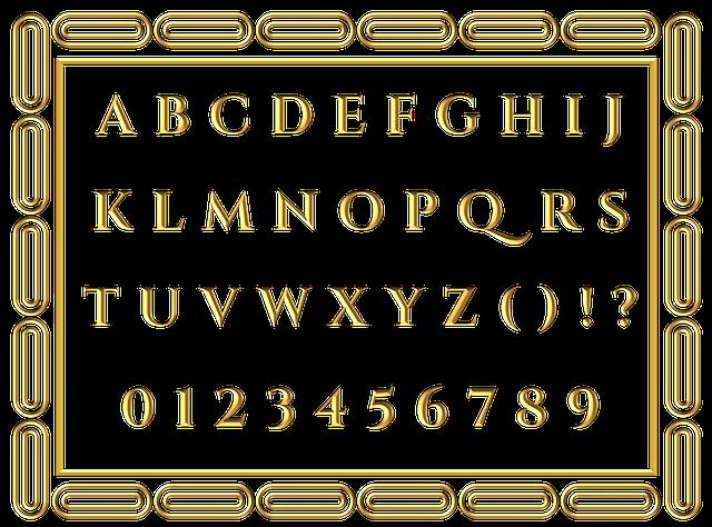 tabulka se zlatými čísly a písmeny